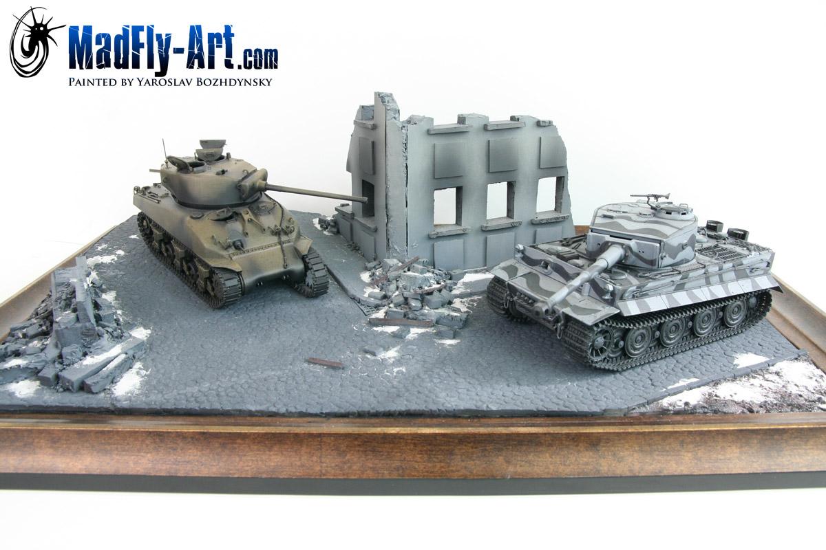 Tiger I vs M4 Sherman Diorama